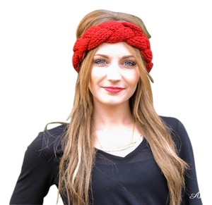 Rikka Red Twisted Knit Headband