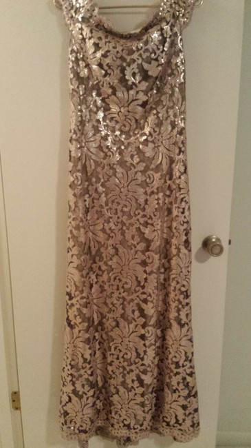 Item - Ginseng Lace Overlay with Sequins Odette Vintage Bridesmaid/Mob Dress Size 8 (M)