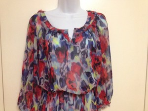 A.B.S. by Allen Schwartz Top blue & red floral