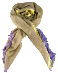Loro Piana LORO PIANA Pastel Yellow & Purple Cashmere Blend Two Tone Scarf