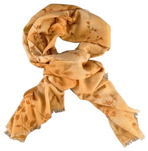 Loro Piana LORO PIANA Light Orange Tan Cashmere - Silk Brown Floral Print Scarf