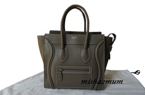 Céline Luggage Souris Micro Leather Satchel in Taupe Grey