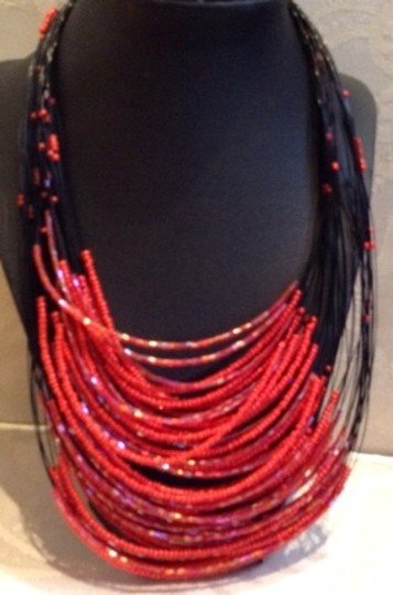Vintage Vintage Jet And Crimson Bead Necklace