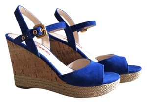 Prada Suede Gold Hardware blue Platforms