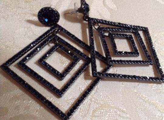 Other Vintage Blue Sapphire Glass Deco Earrings Image 2