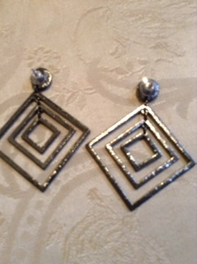 Other Vintage Blue Sapphire Glass Deco Earrings Image 3