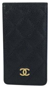 Chanel Chanel Black Caviar Quilted Leather iPhone 4 Case