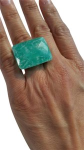 Sterling Silver 18k Gold Plated Ring with Amazonite, Size - 6