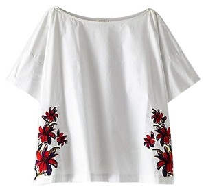 SUNO Boxy T Shirt White (with embroidered flowers)