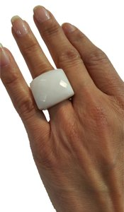 Sterling Silver 18k Gold Plated Ring with Dolomite (White Quartz)