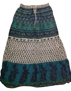 Magazine Maxi Skirt Printed with blues,greens,teals and touch of white