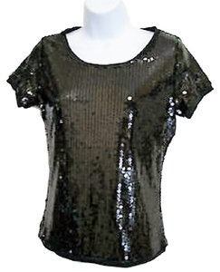 August Silk Sequin Holiday Christmas Evening T Shirt Black