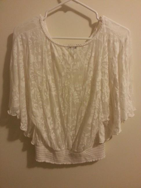 Express Flowy Flower Print Elastic Waistband Top white