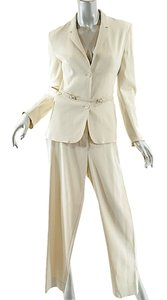 Prada PRADA Beige Acetate Blend Stretch Gaberdine PANTSUIT w/ Belt - GORGEOUS - 40
