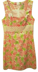Lilly Pulitzer short dress BLACKJACK green & pink Rare Cats Cards Cocktails Print Above Knee Shift Cocktail Daytime Nightime Lace Almost New on Tradesy