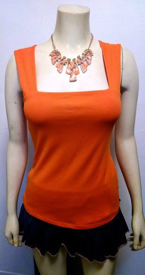 Other NEW BIB NECKLACE WITH CRYSTAL ENAMEL GOLD & ORANGE COLORED CLAVICLE PENDANT 19 IN. ADJUSTABLE J31