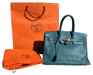 Hermes birkin 35 cm togo leather bag Tote in Blue Jean