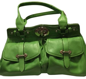 Coach Satchel in Green with Silver Hardware
