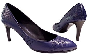 Bottega Veneta Heels Woven Leather Blue Pumps