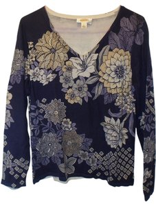Talbots Silk Blend Floral V-neck Top Purple/beige