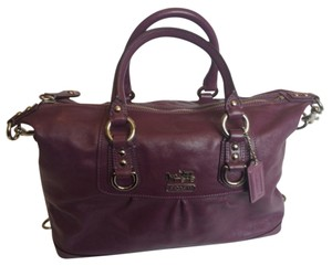 Coach Leather Violet Satchel in Plum