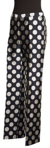 Giorgio Armani Polka-dot Silk Jacquard Wide Leg Pants blue/white