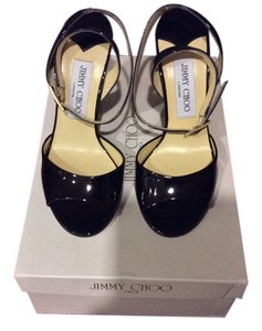 Jimmy Choo Patent Price Reduction Black Sandals