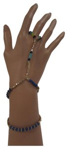 Other Women Fashion Bracelet Fashion Bohemian Hand Chain Slave Ring Gold Blue Beads