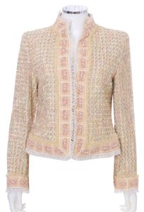 Escada Cotton Glass Beads Cream Tweed with Apricot Blazer