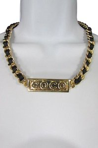 Other Women Metal Chain Fashion Short Necklace Gold Co Co Plate Pendant Black Strap