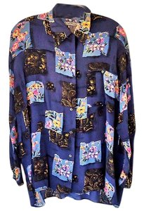 Robert Stock Silk Button Down Shirt blue