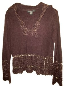 Other 52 Weekends Hooded Woven Chestnut Gold/silver In Yarns Holiday Mid Waist Teen Women's Medium Crochet Details Sweater