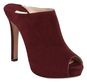 Prada Burgundy Maroon Stiletto Heels Red Mules