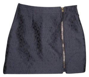 BCBGMAXAZRIA Black Hardware Mini Skirt Black, Gold Zipper