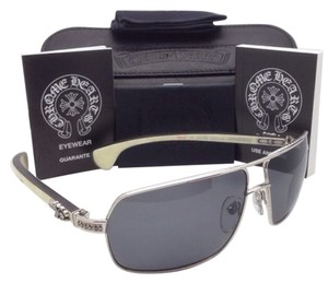 Chrome Hearts Polarized CHROME HEARTS Sunglasses MOOREHEAD SS-WTEB Silver & White Ebony w/Grey