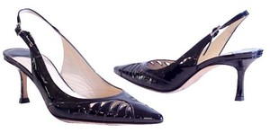 Jimmy Choo Leather Pointed Toe Sling Backs black Sandals
