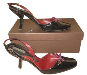 Louis Vuitton Leather Monogram Slingback Classic Patent Leather Holiday Party Black Pumps