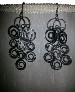 Silver swirl chandelier earrings