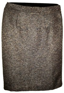 Coldwater Creek Winter Pencil Casual Night Out Skirt Brown Tweed with Metallic Accents