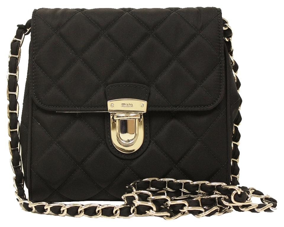 5d88416b20 Prada Quilted Nylon   Saffiano Leather Chain Strap Shoulder Clutch Black  Tessuto Impuntu Cross Body Bag