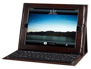 Restoration Hardware Artisan Dark Brown Leather iPad Cover w/Bluetooth Keyboard