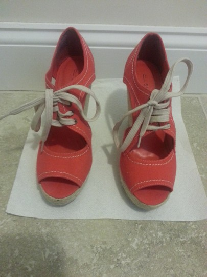 Call It Spring Open Toe red- orange Wedges