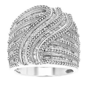 925 Sterling Silver Cttw Round Baquette Cut Diamonds Womens Ring
