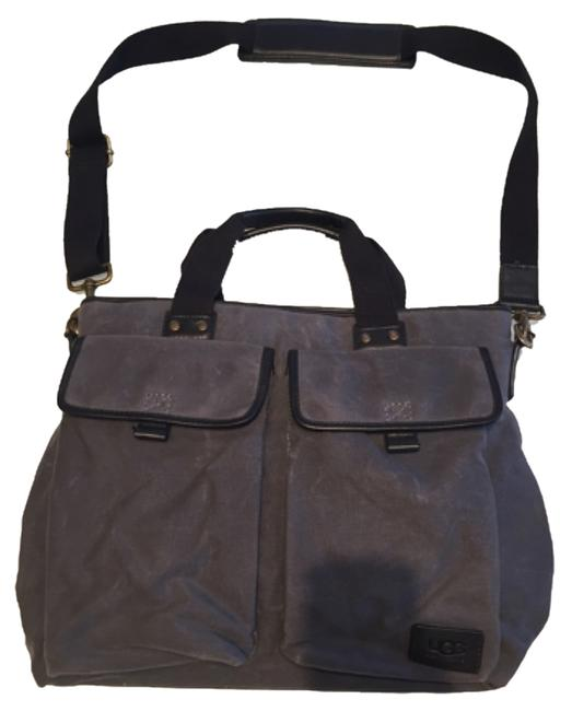 Item - Dark Grey Canvas and Leather Trim Messenger Bag