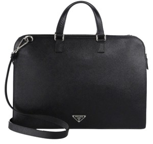 Prada Saffiano Travel Briefcase Leather Tote in Black