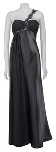 NW Nightway Nightway Charcoal Grey Rouche Chiffon Beaded Sequin Floor Length Gown