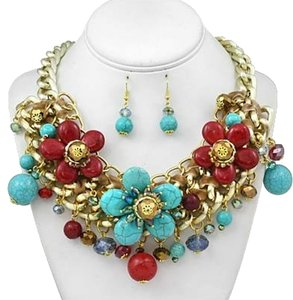 Other Gemstone Turquoise Multicolor Fashion Necklace and Earring