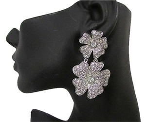 Other Women Silver Long Metal Fashion Earrings Set Big Flowers Rhinestones Dangle