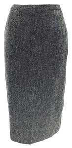 Max Mara Fleck Pencil Slit Skirt Gray & White