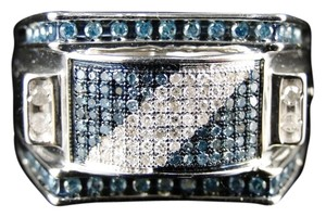 Jewelry Unlimited Mens White Gold Finish Blue and White Diamond Designer Pinky Ring .75 Ct